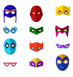 cartoon superhero mask color icons set vector image