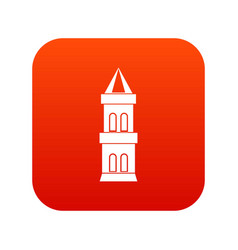 castle tower icon digital red vector image