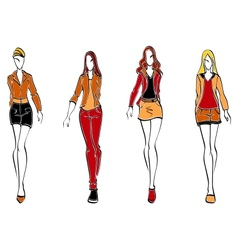 Casual fashion models vector image vector image