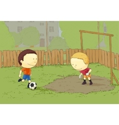 Children playing football vector