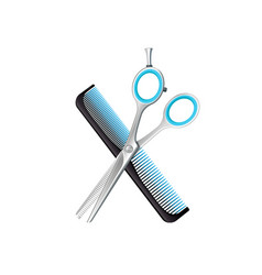 crossed comb and scissors composition vector image vector image