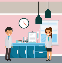 Doctors man and woman hospital ward furniture and vector