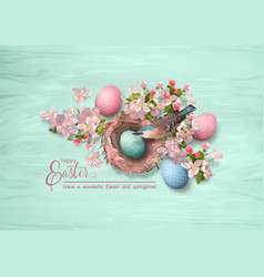 easter bird and nest vector image
