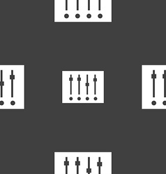 Equalizer icon sign Seamless pattern on a gray vector image vector image