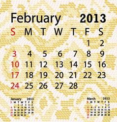 february 2013 calendar albino snake skin vector image