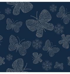flowers butterflies pattern vector image vector image