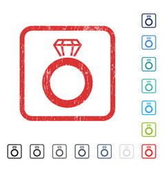 Gem ring icon rubber watermark vector
