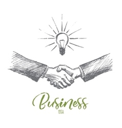 Hand drawn handshake with business idea lettering vector