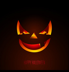 Happy halloween with creepy pumpkin face on dark vector