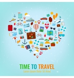 Heart silhouette with travel flat icons Travel vector image vector image