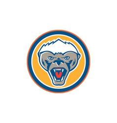 Honey badger mascot head circle retro vector