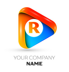 letter r symbol in the colorful triangle vector image