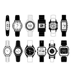 mechanical and electronic sport hand watches in vector image vector image