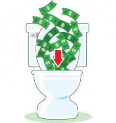 money down the toilet vector image