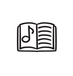 Music book sketch icon vector