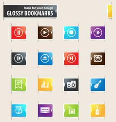 Music bookmark icons vector