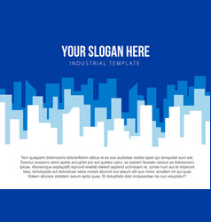 Poster template with blue city skyline vector