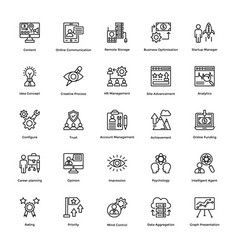 Project management line icons set 16 vector