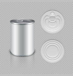 Realistic canned metal packaging vector