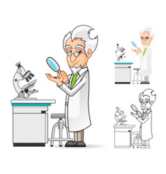 Scientist Holding a Magnifying Glass vector image