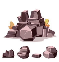 set of rocks cartoon isometric 3d flat style vector image