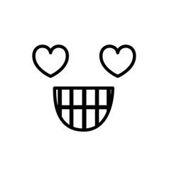 Sketch silhouette emoticon in love expression vector