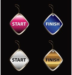 Start finish buttons tag vector