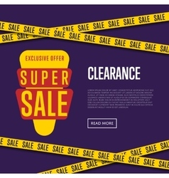 Super sale website template with text vector