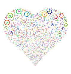 Time fireworks heart vector