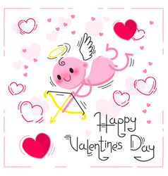 Valentines day card with cute cupid and hearts on vector