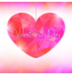 Valentines Day card with precious heart on light vector image vector image