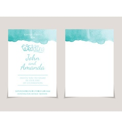 Wedding invitation card templates with watercolor vector image