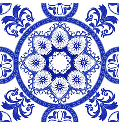 white and blue ornamental pattern indian vector image