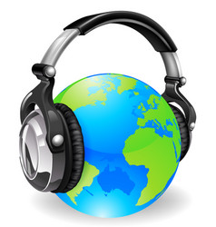 World globe music headphones vector