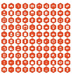 100 kitchen utensils icons hexagon orange vector