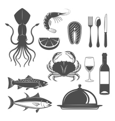 Seafood monochrome objects set vector