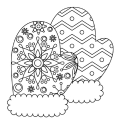 Mittens coloring vector image