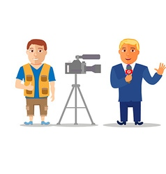 Cartoon characters reporter with cameraman vector
