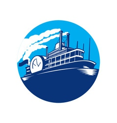 Steamboat ferry passenger ship retro vector