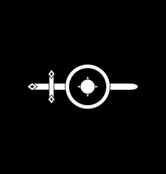 White icon on black background sword and shield vector