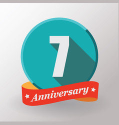 7 anniversary label with ribbon vector
