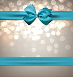 Greeting card with blue bow vector