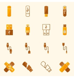 Usb icons flat yellow set vector