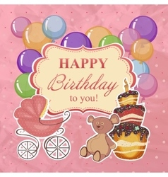 Childrens greeting background with birthday vector