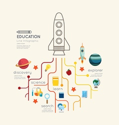 Flat line infographic education rocket outline vector