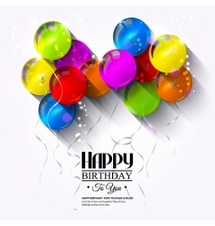 Birthday card with balloons and ribbons vector