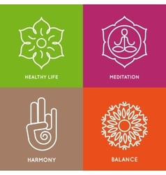 Yoga line symbols in colorful squares vector