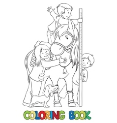 Coloring book with children and a pony vector
