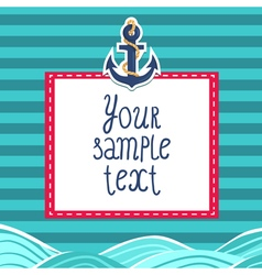 Striped card background with anchor and waves vector