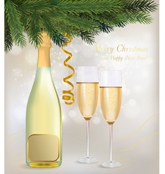 champagne and a bottle vector image